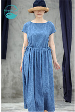 100% cotton Summer blue cotton embroidered short sleeves drawstring pleated dress