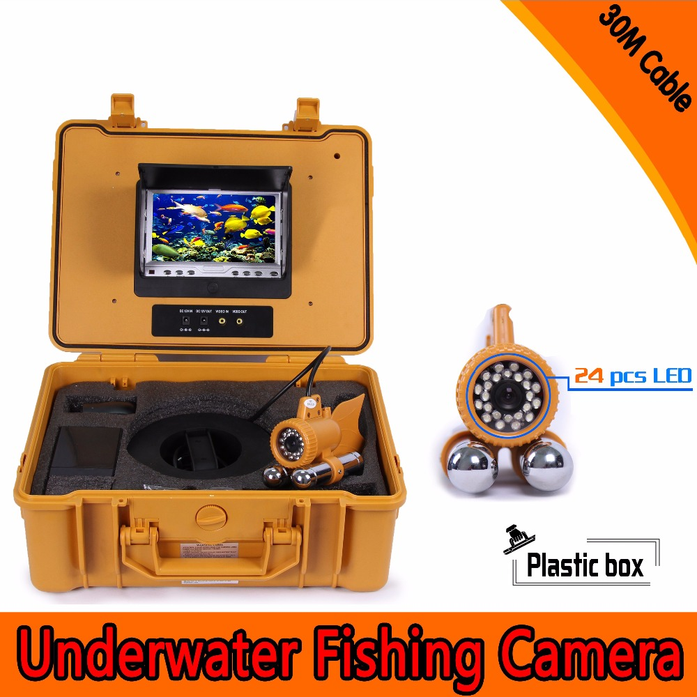 (1 Set) 30M Cable dual-pendant HD Underwater fishing camera 24PCS LEDs night visible surveillance system Fish finder CMOS lens underwater video fishing camera with 30m cable 24 pcs bright illuminated leds underwater camera skc006a30