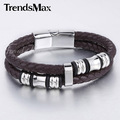 Trendsmax Mens Brown 2 Stands Genuine Leather Bracelet Braided Rope Bead Charm Wristband w Stainless Steel Magnetic Clasp LB625