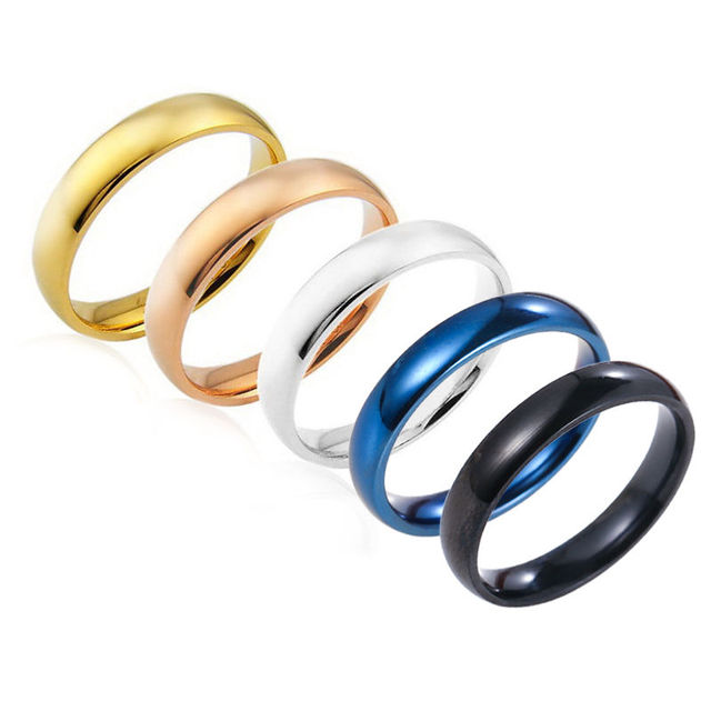 Latest Fashion Fortunately Rose Gold Women Men Polished Stainless Steel Ring Convention Jewelry Wedding Band Ring Valentine Gift 1