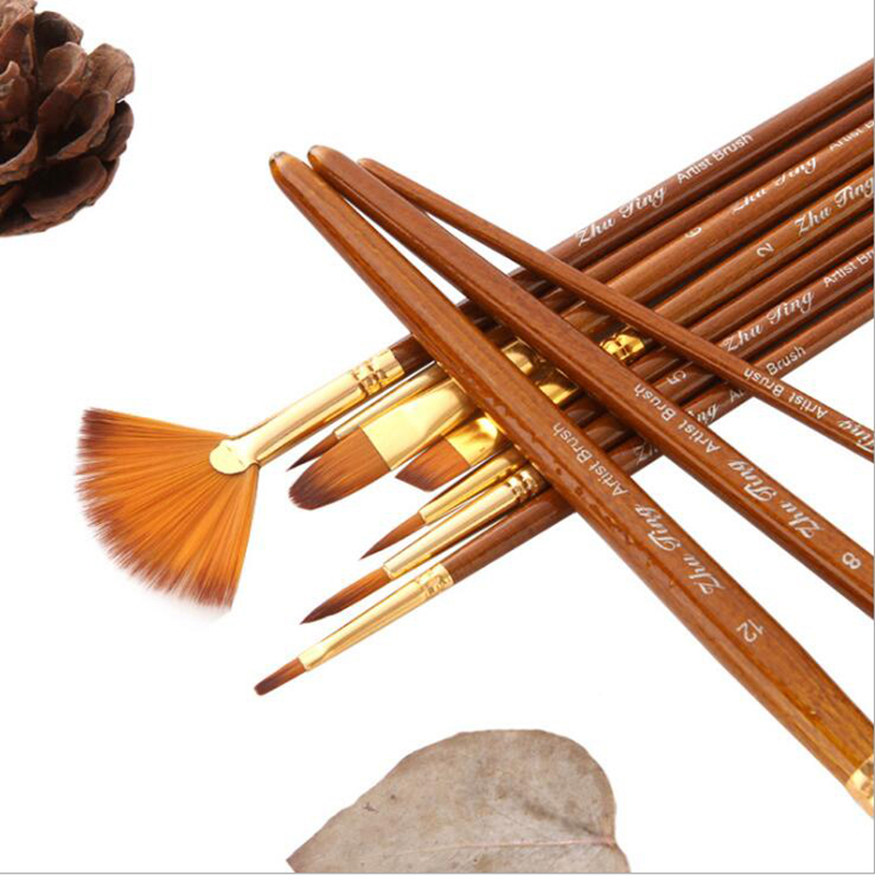 10Pcs/set Nylon Hair Painting Brush New Paint Brushes Set Oil Acrylic Brush Watercolor Pen Round And Fan Shape Tip Brush