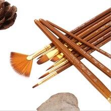 10 teile/satz Nylon Haar Malerei Pinsel Neue Pinsel Set Öl Acryl Pinsel Aquarell Stift Runde Und Fan Form Spitze pinsel