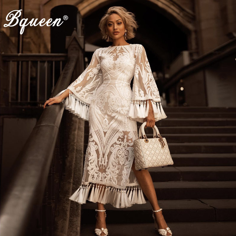 Bqueen2019 Sexy O Neck Solid White Three Quarter Flare Sleeve Women Bandage Dress Fashion Tassel Floral
