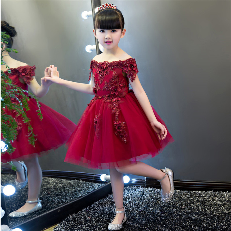 2017New High Quality Girls Luxury Embroidery Princess Lace Dress Luxury Elegant Girls Shoulderless Birthday Wedding Party Dress girls embroidery detail contrast lace hem dress