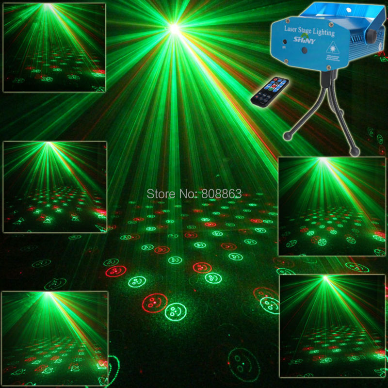 Mini R&G Remote 6 Patterns Laser Projector Club Bar Dance Disco Home Party Xmas DJ Stage lighting Effect Light Show + Tripod R7 new mini red blue line pattern gobo remote laser projector dj club light dance bar party xmas disco effect stage lights show b55