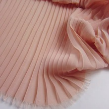 nude chiffon panel pleated fabric for dress, accordion pleats by the yard,