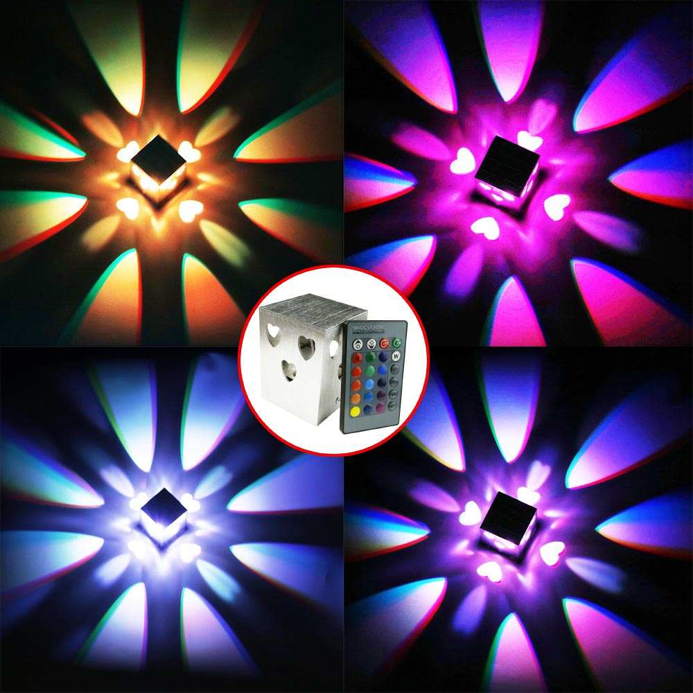 AC85-265 3W Heart Shape Led Wall Lamps Aluminum Case for Bedroom bedside Living Room Stairs Modern house decor free shipping DA