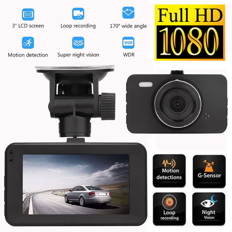 In Car Camera >> Us 20 69 10 Off Black 3 0 Inch Car Driving Recorder 1080p 170 Degree Wide Angle Car Camera Dvr Full Hd Lcd Screen Recording Motion Detection In