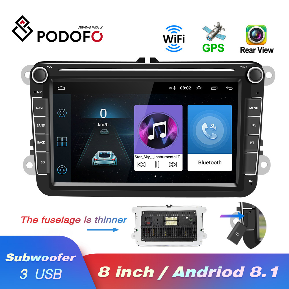 Podofo lecteur multimédia de voiture Android 8.1 GPS 2 Autoradio Din pour VW/Volkswagen/Golf/Polo/Passat/b7/b6/SEAT/leon/Skoda
