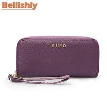 Купить с кэшбэком Bellishly portefeuille femme Genuine leather wallet women wallets cartera mujer Long zipper portfel cellphone purse clutch Bag