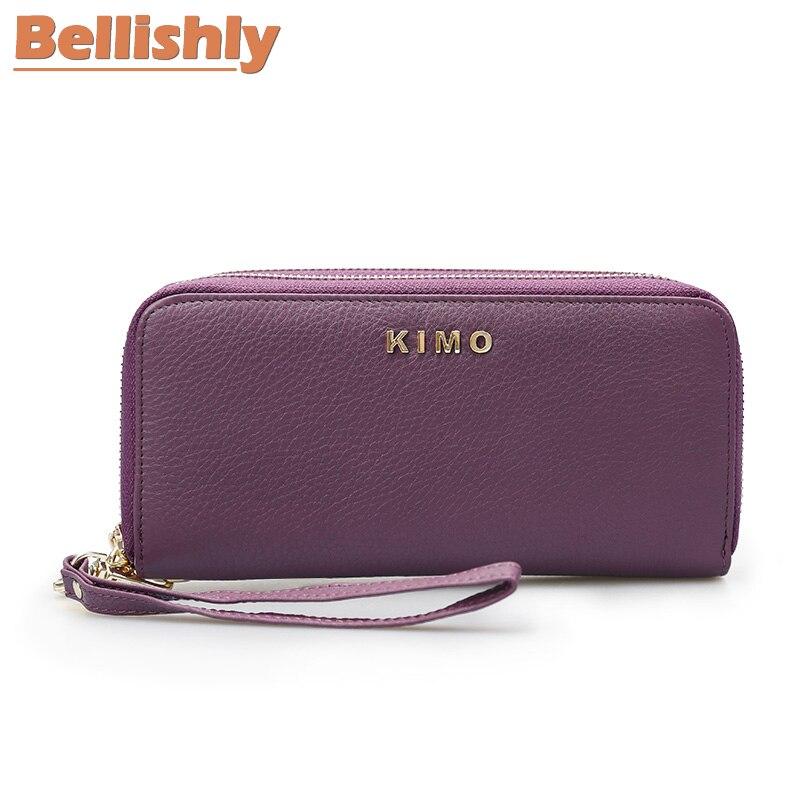 Bellishly portefeuille femme en cuir véritable portefeuille femmes portefeuilles cartera mujer longue fermeture à glissière portfel téléphone portable sac à main pochette