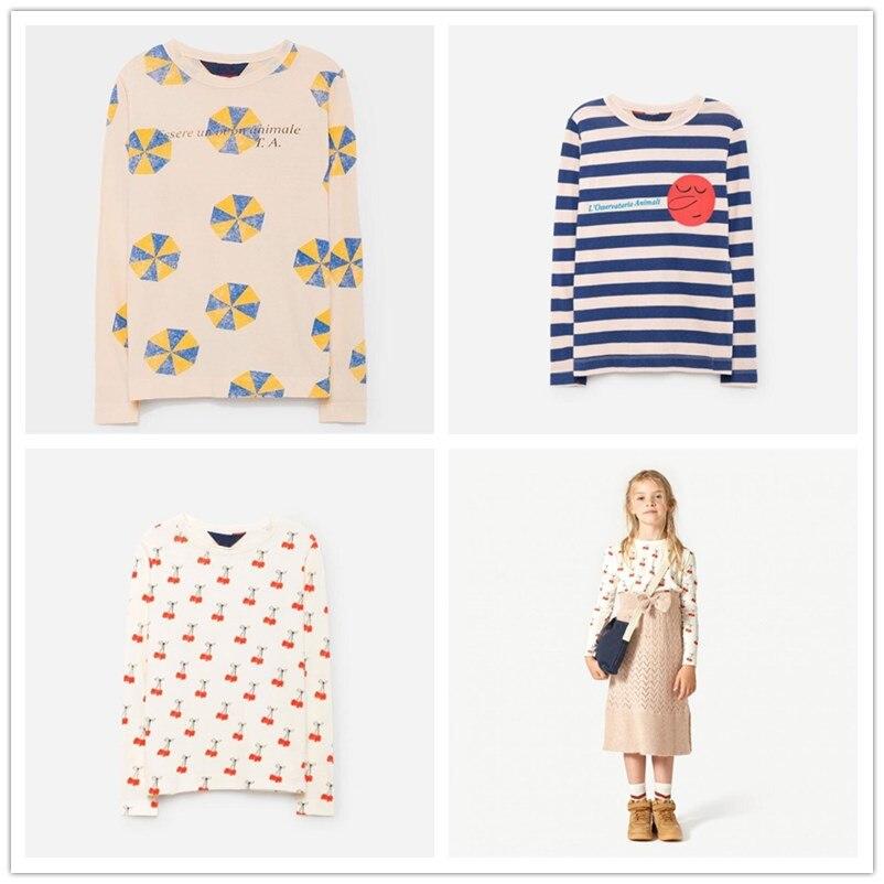 New 2017 Bobo Choses Striped T shirt Autumn Winter Kids Umbrella Cherry Printing Long Sleeve T