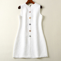 Vestido jacquard corto de alta calidad verano vintage 3