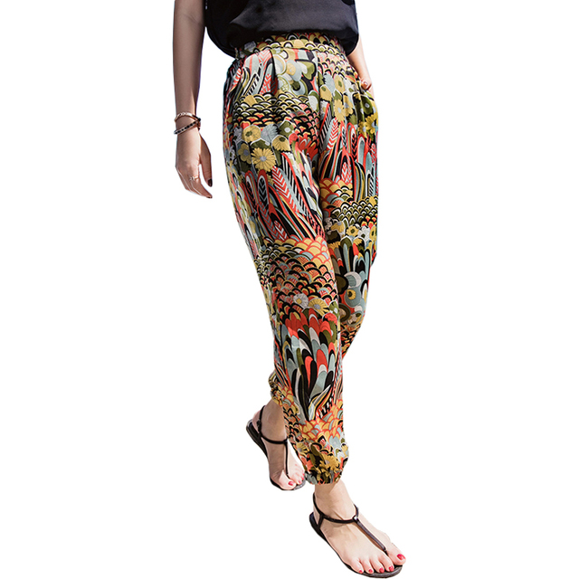 f71dc6d5357c Women Boho Print Thai Beach Pants Elastic High Waist Harem Pant Ethnic  Style Fashion Thin Ladies Loose Casual Female Trousers