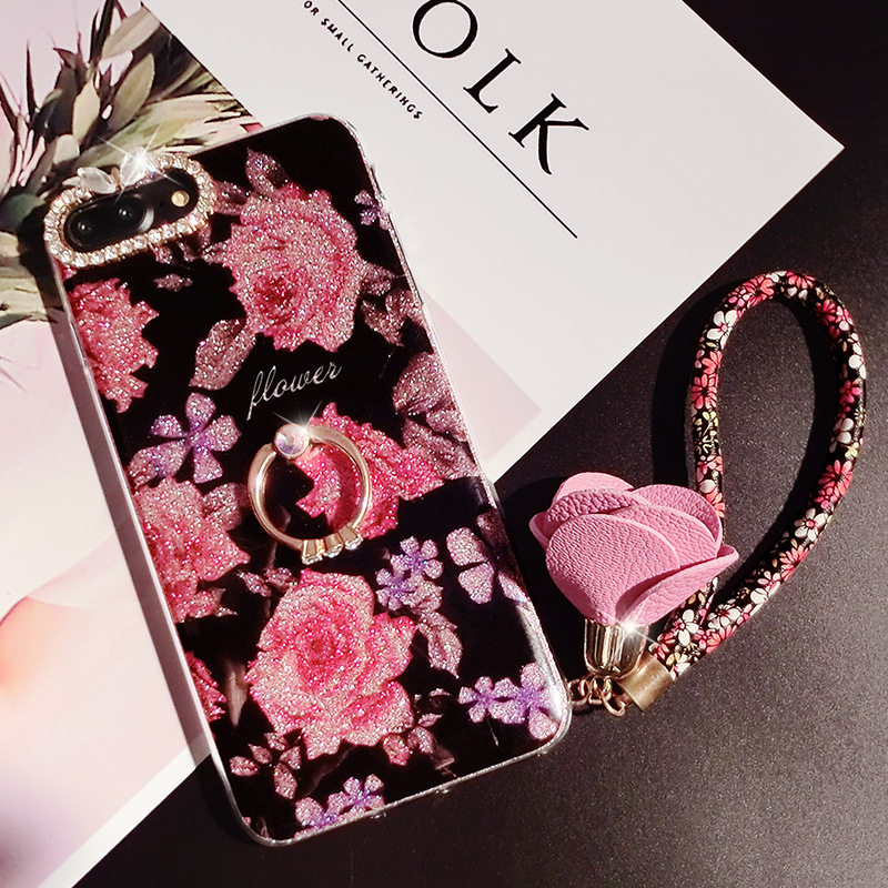 Case For iPhone Xr Xs Max Cover Luxury Rose Flower 3D Metal  (4)