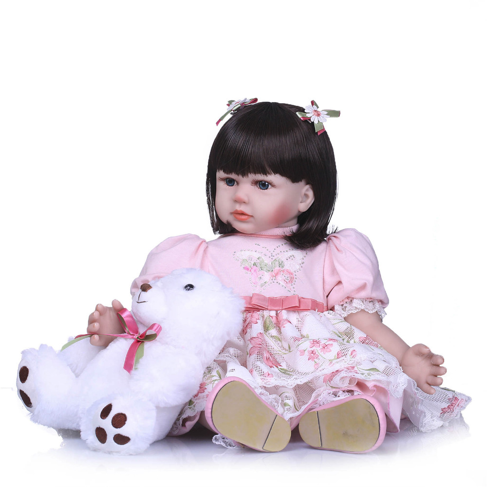 Nicery 23-24inch 58-60cm Bebe Reborn Doll Soft Silicone Boy Girl Toy Reborn Baby Doll Gift for Child Pink Dress Bady Doll nicery 18inch 45cm reborn baby doll magnetic mouth soft silicone lifelike girl toy gift for children christmas pink hat close