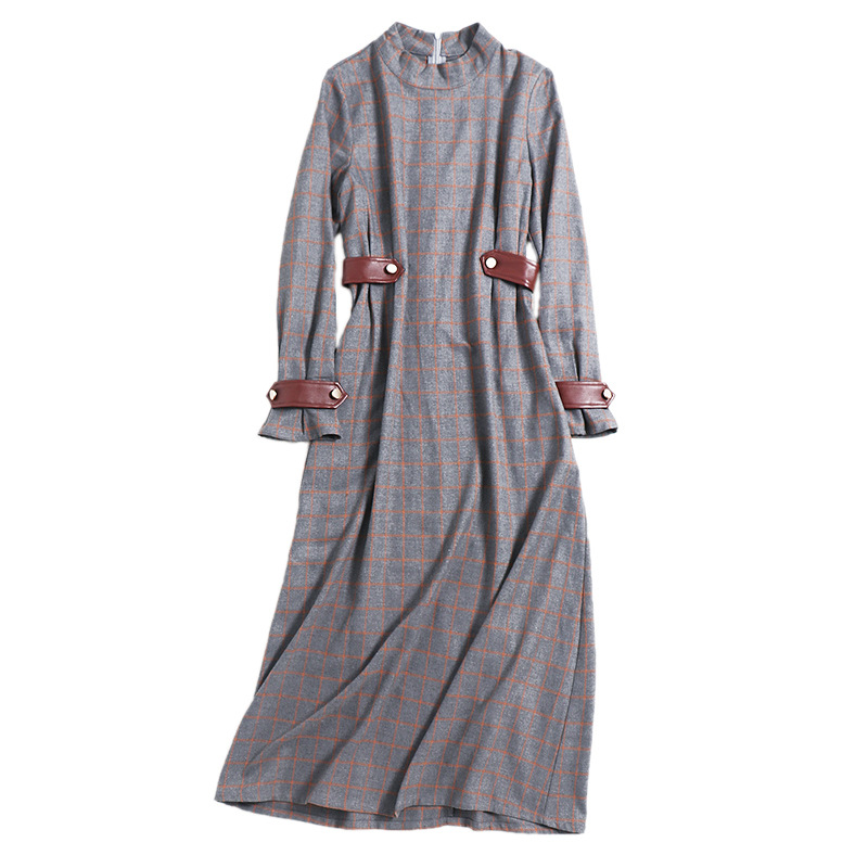 Longue Plaid Slim Col Longues Manches Femmes Printemps 2018 High Robe Robes À Bureau Femme Coton Stand Formelle Américain Complètes Gris Fashion qPXHCx