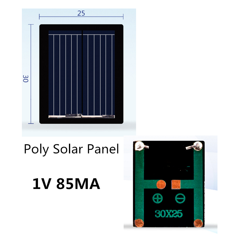 Mini Polycrystalline Silicon Solar Panel 1V 85MA/80MA Solar System DIY For Battery Chargers