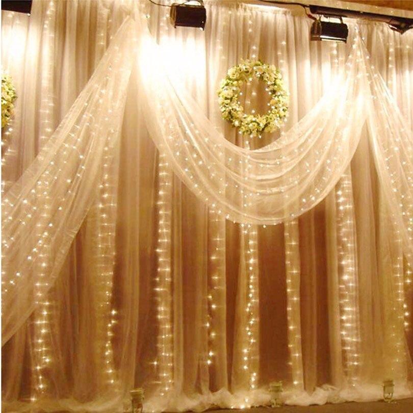 YIYANG 3M x 3M Christmas Garlands LED String New Year Lights Fairy Xmas Party Garden Wedding Decoration Curtain fairy Light