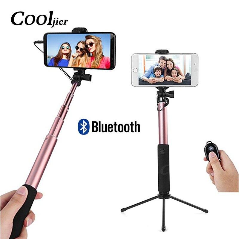 COOLJIER Filaire Bluetooth Selfie Bâton Mini Trépied Pour iPhone 6 5 6 s plus Samsung Xiaomi Huawei De Poche Télécommande monopode