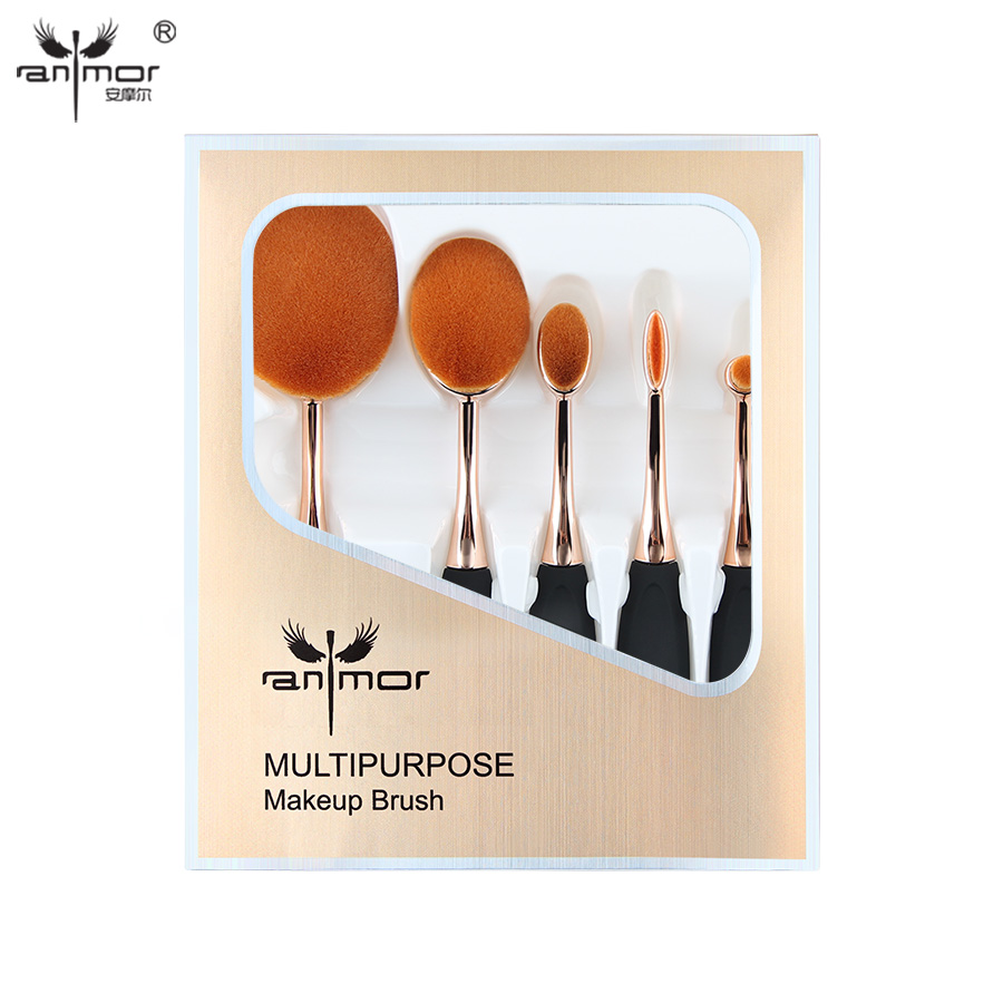 5 Pieces Oval Makeup Brush Set Gift Makeup Brushes Professional Foundation Powder Make Up Brushes Kit new oval makeup brush set professional concealer foundation powder blending brushes toothbrush make up tools