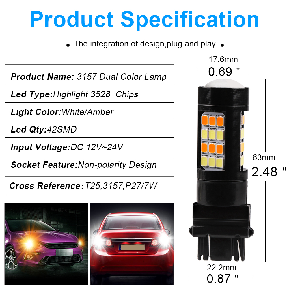 Buy 1pair T25 3157 7443 3528 42 Smd Turn Signal Dc Shade Motors Can The Polarity Be Reversed With A Simple Switch Package Include 2pcs X Car Light