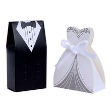 100Pcs/lot Wedding Candy Box Bride Dresses Groom Suits Favor Gift Package DIY Party Supplies