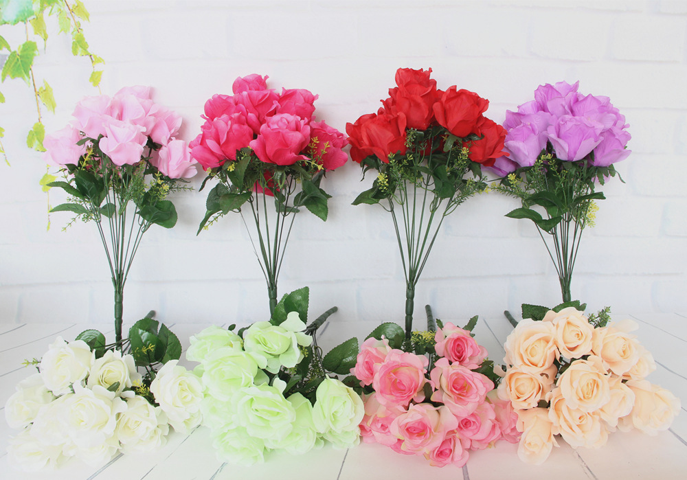 3pcs/lot 12 heads French Artificial roses Wedding arched silk flower ...