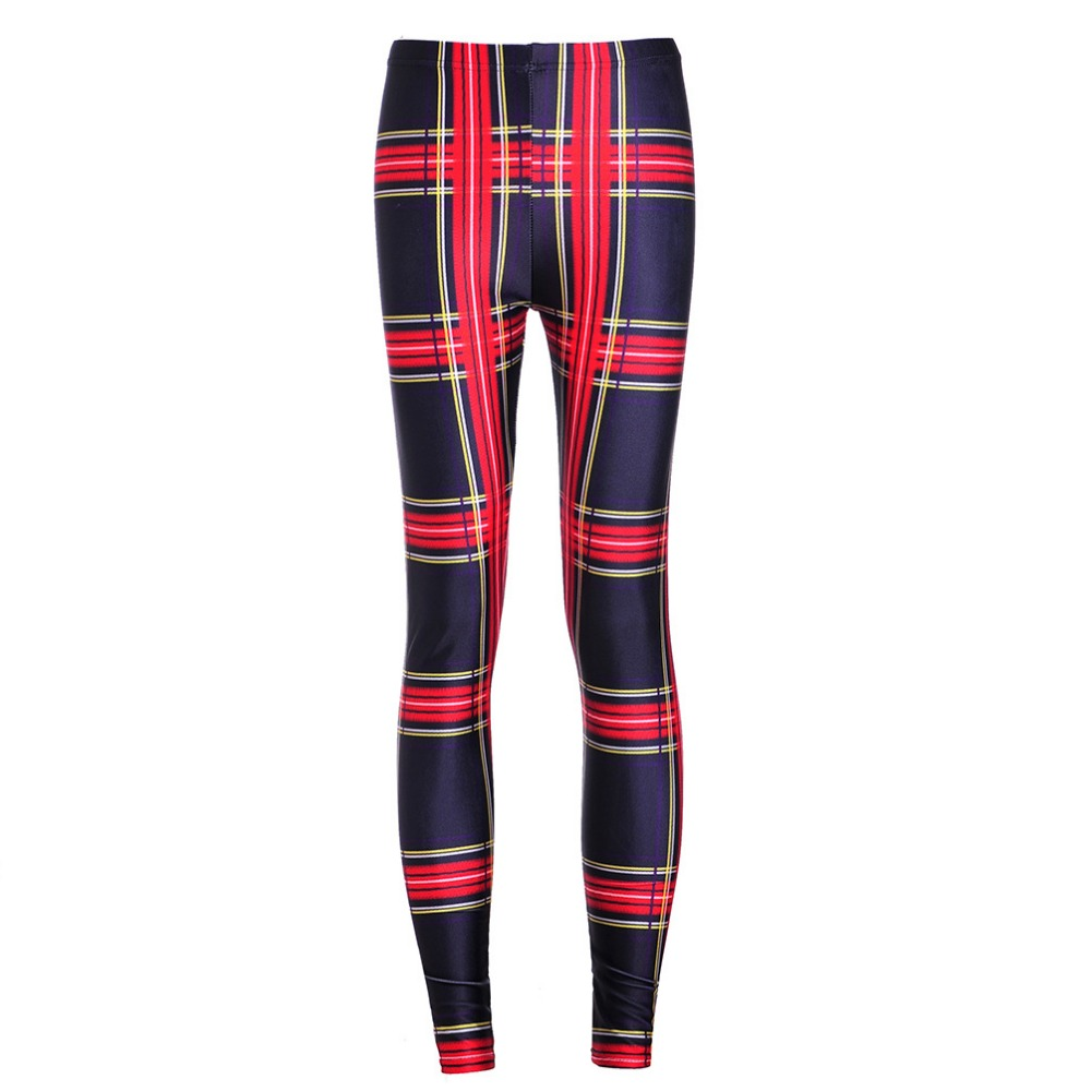 Fashion 3619 sexy girl women plaid tarta red yellow black 3D prints Polyester elastic fitness Leggings Pants