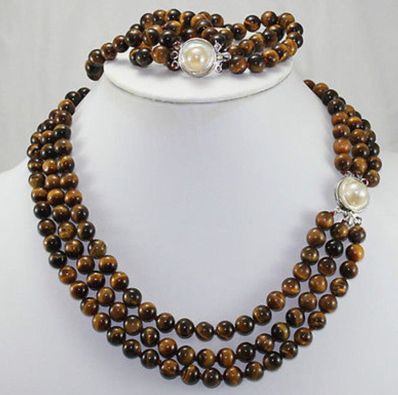 FREE SHIPPING>>>@@ Natural 3 rows 8mm Africa Roaring Tiger Eye Necklace, Bracelet 17-19