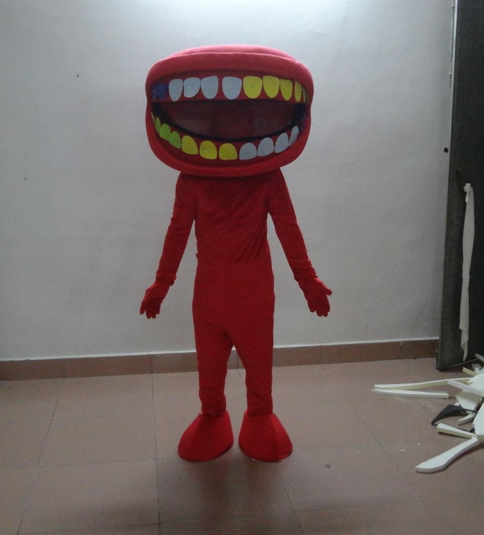 Adulte mignon dessin animé rouge grande bouche poupée mascotte costume fantaisie robe costumes de fête vacances vêtements spéciaux
