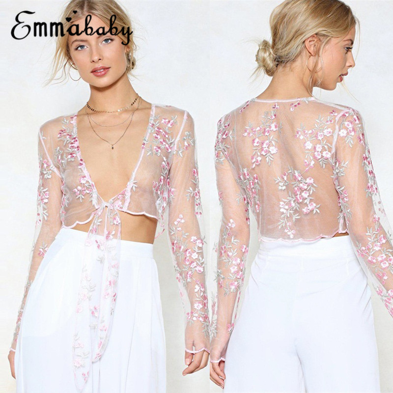 Thefound 2019 New Women See-through Sheer Mesh Flower Long Sleeve  Shirt Style Tee Blouse Top see through angel shirt
