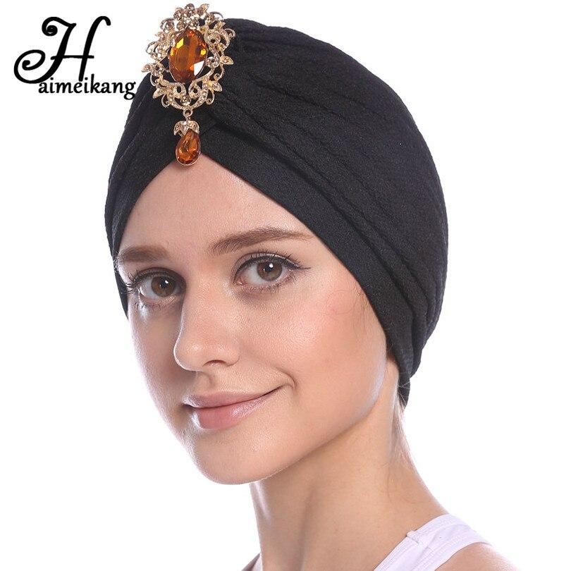 Haimeikang Women Luxury Thread Turban Head Wrap Indian Hat Beaded Pendant Chemo Cap Headband Hair Bands for Women Headwear