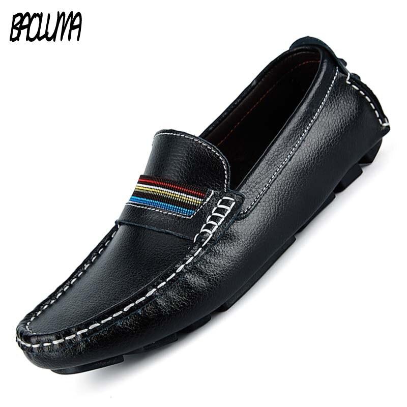 100% QualitäT Echtes Leder Männer Casual Schuhe Luxus Marke 2019 Herren Loafer Mokassins Atmungs Slip Auf Schwarz Driving Schuhe Plus Größe 38 -47
