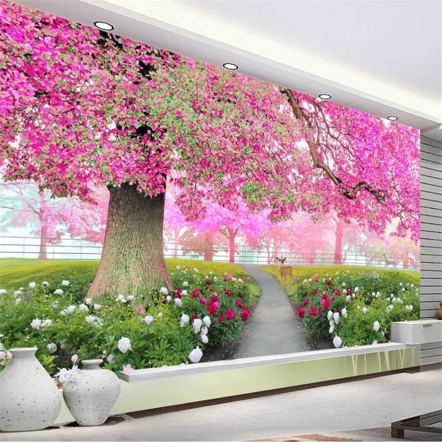 Beibehang Wallpaper Kustom 3D Foto Mural Papel De Parede Bunga Pohon Sakura Jalan 3D Ruang Tamu