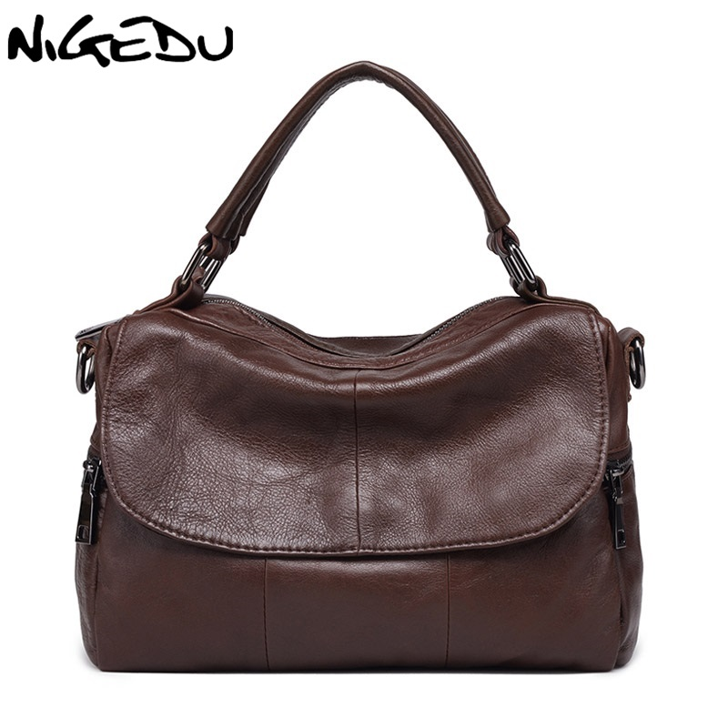 NIGEDU Brand Genuine leather bags for women Handbags Cowhide small bag girls Crossbody Bags black Shoulder bag for Women's Totes цена и фото