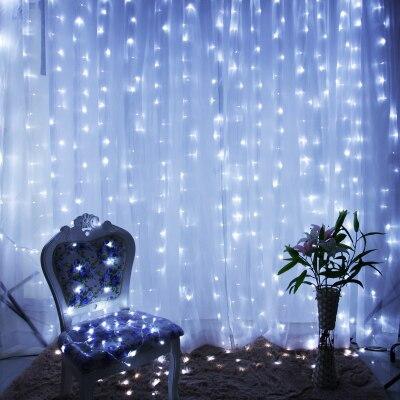 Новый год украшения гирлянды LED Рождество огни Открытый гирлянды Рождество светодиодные Шторы строки Luces de Navidad 2x2 м 220 В