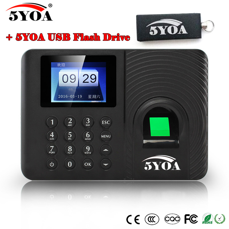 A10FY Usb Flash Drive biometric fingerprint time clock English Spanish Portuguese Voice attendance recorder machine reader