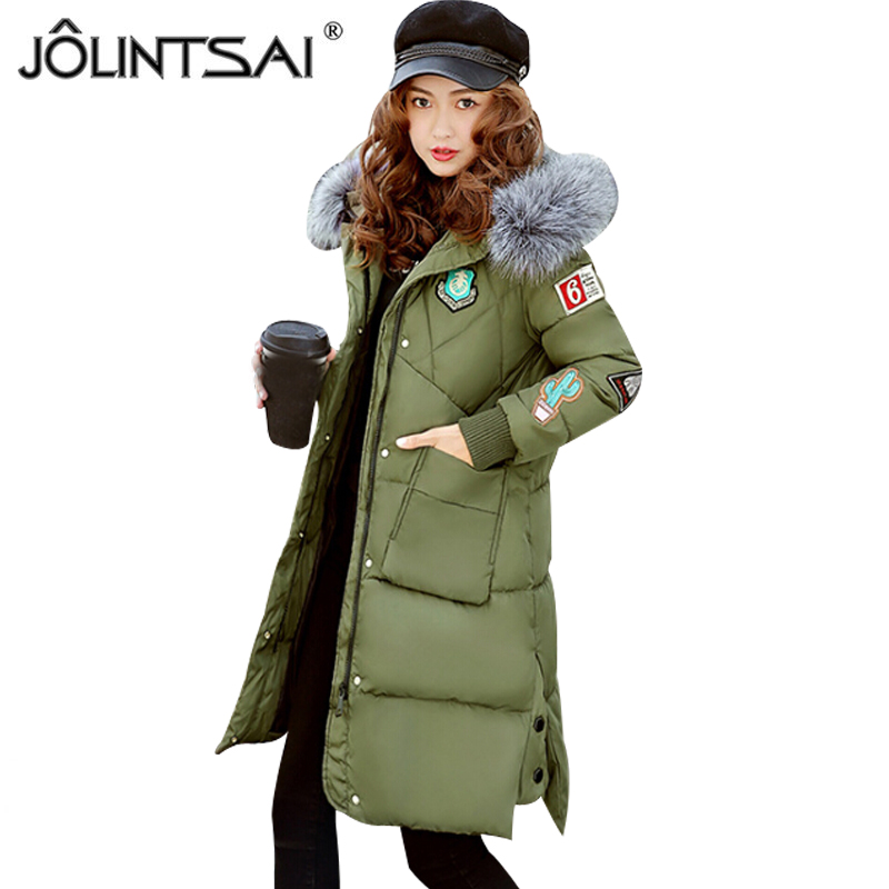 JOLINTSAI 2017 New Medium Long Winter Jacket Women Plus Size Warm Cotton Coat Hooded Fur Collar Female Parkas Wadded Outerwear jolintsai winter coat jacket women warm fur hooded woman parkas winter overcoat casual long cotton wadded lady coats