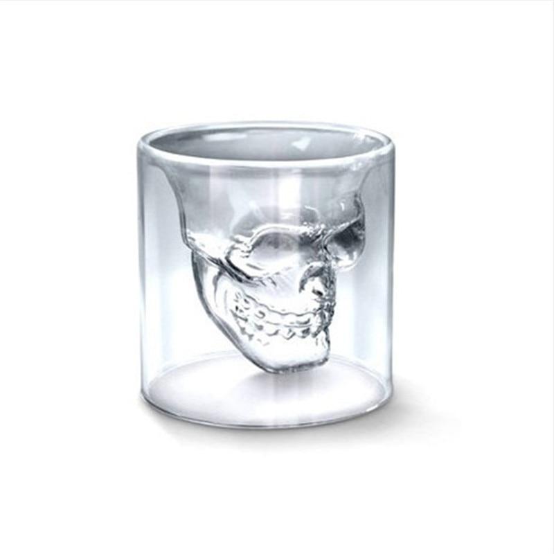 <font><b>Crystal</b></font> <font><b>skull</b></font> <font><b>head</b></font> glass wine whiskey <font><b>shot</b></font> glasses <font><b>doom</b></font> glass cup drinkware <font><b>vodka</b></font> <font><b>double</b></font> <font><b>walled</b></font> glass 5pcs