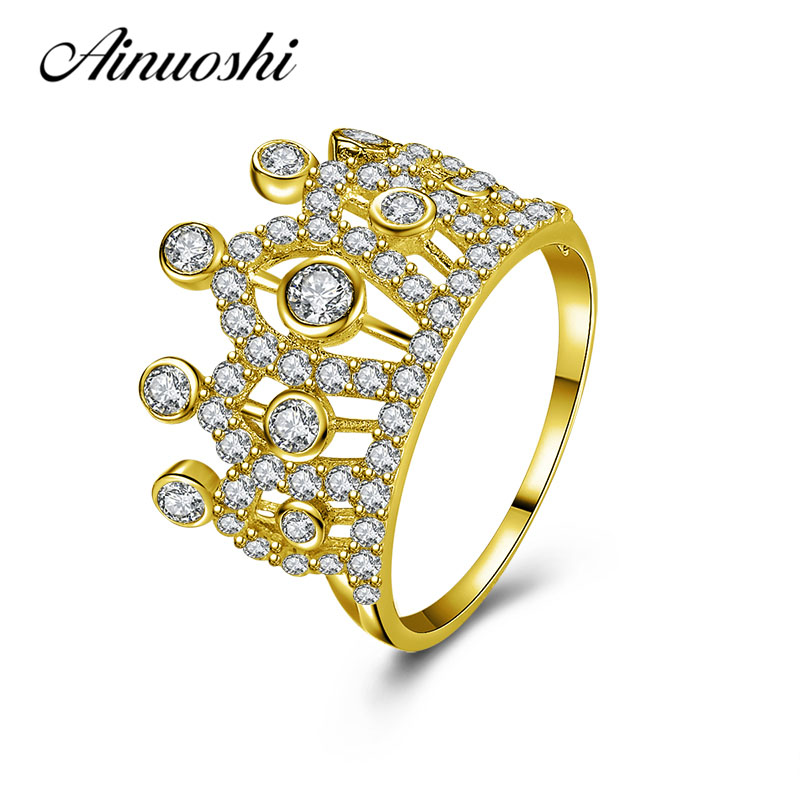 AINUOSHI Brilliant Queen Crown Ring 10K Solid Yellow Gold Women Jewelry Luxurious Engagement Wedding Birthday Party Crown Ring ainuoshi exquisite queen crown ring 10k solid yellow gold flower ring women jewelry engagement wedding birthday party heart ring