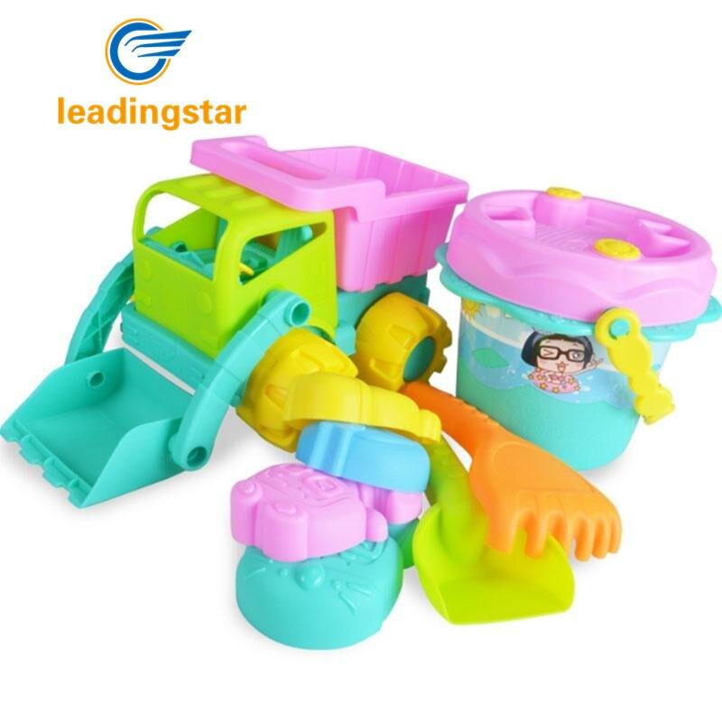 LeadingStar 9 Pieces Soft Beach Toy Set - Bucket, Dump Truck, Rake, Shovel Cartoon Figure Shape Models zk35 new 3pcs outdoor garden tools set rake shovel playset kids beach sandbox toy