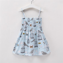 Girls Dress Summer Cool Blue Bird Cage Sling Off Shoulder A-line Children's Birthday Cute Princess Clothing 2~6 Years Old(China)