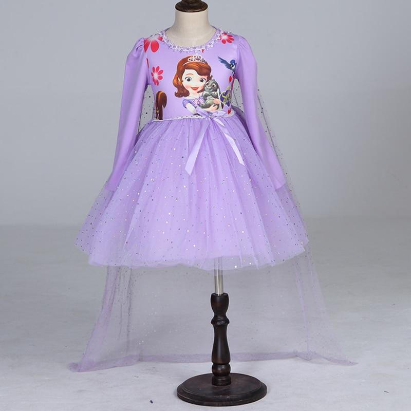 Brand New Sophia Princess Dress Elsa children dress long veil Summer Kids Party Dresses for children