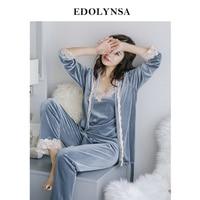 Three 3 Pieces Sleepwear Women Pajama Set Velvet Robe Gown Set Autumn Home Wear Pyjama Lace Kimono Sexy Camisole Long Pant H760