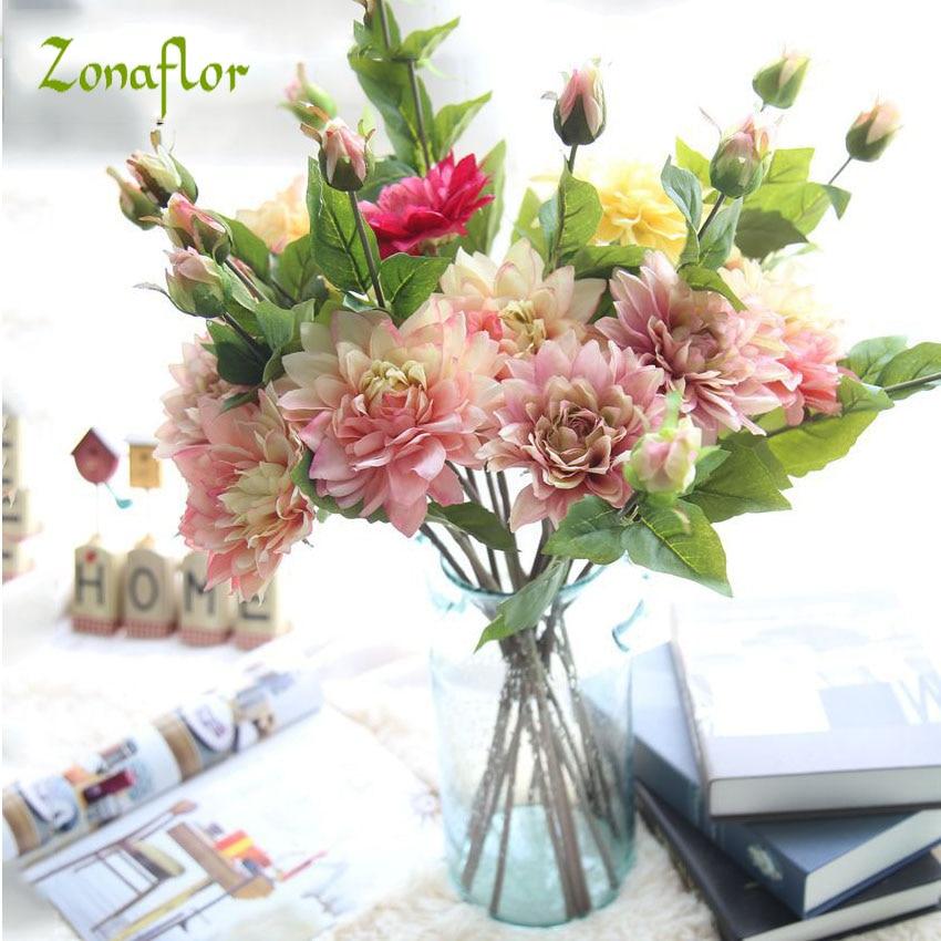 Zonaflor Quality Artificial Flowers Bouquet Fake Dahlia Flower buds ...