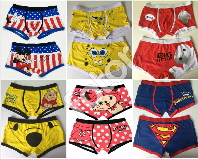 2017 New Sexy High quality 100% cotton cartoon men's Boxer / men underwear Lilo & Stitch 2 piece/lot