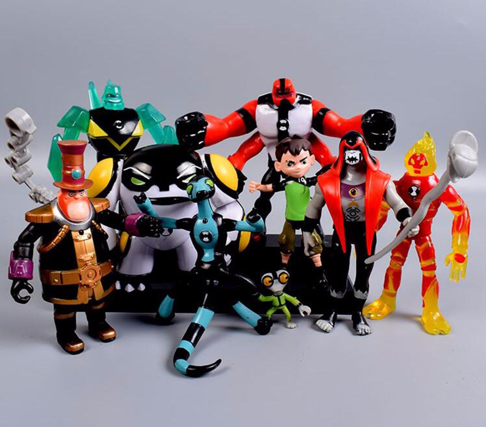 Ben 10 Ben Tennyson Four arms Grey Matter Kineceleran Diamondhead Heatblast PVC Action Figures Toys For Kids Boys 9pcs/set 12pcs set children kids toys gift mini figures toys little pet animal cat dog lps action figures