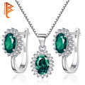 925 Sterling Silver Green Imitation Gem Stone Hoop Earrings Necklace Set Micro Pave CZ Diamond Wedding Brides Jewelry Sets
