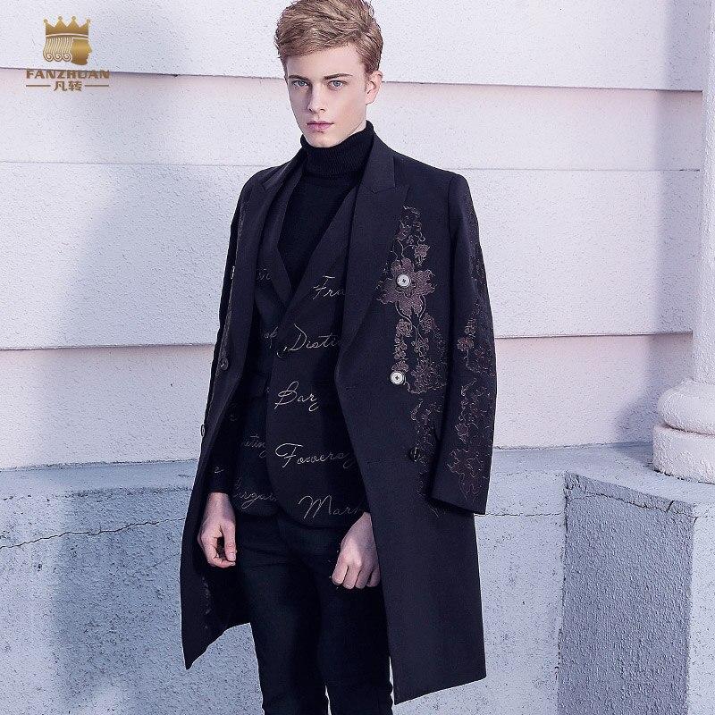 Fanzhuan ฟรีจัดส่งใหม่ 2017 ชายศาลยุโรปเสื้อเย็บปักถักร้อย 2017 ชุดฤดูหนาว Baroque man ยาวชุด 710217-ใน ขนสัตว์และขนสัตว์ผสม จาก เสื้อผ้าผู้ชาย บน AliExpress - 11.11_สิบเอ็ด สิบเอ็ดวันคนโสด 1